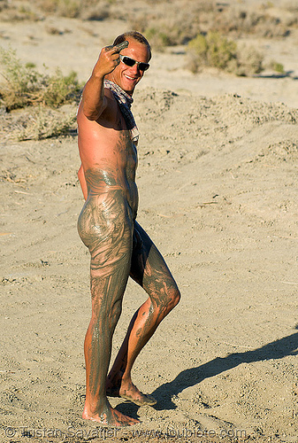 muddy naked man (trego hot springs, black rock desert, nevada), black rock desert, chip, finger, man, mud bath, muddy, naked, nude, trego hot springs