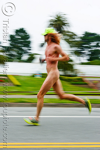 naked runner - bay to breaker footrace (san francisco), bay to breakers, footrace, man, nude, runner, running, street party