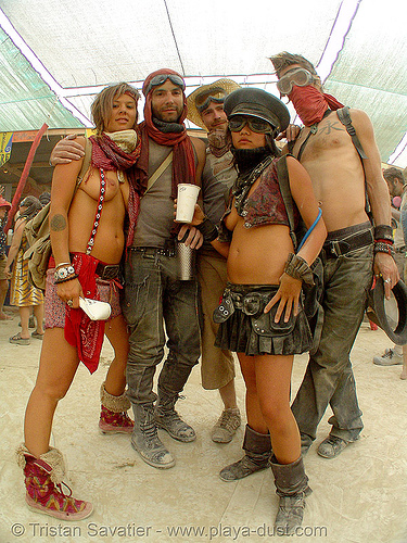 nej and friends - burning man 2007, breasts, burning man, center camp, nej, tank girl, topless woman