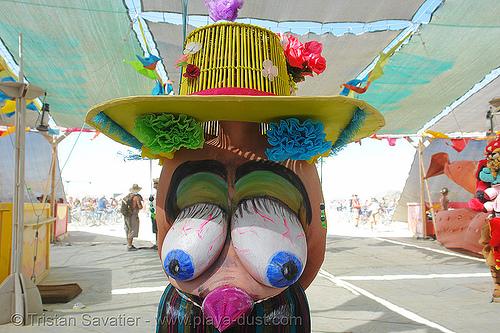 09495-burning-man-2006 - nice hat!, body art, body paint, body painting, burning man, center camp, topless woman