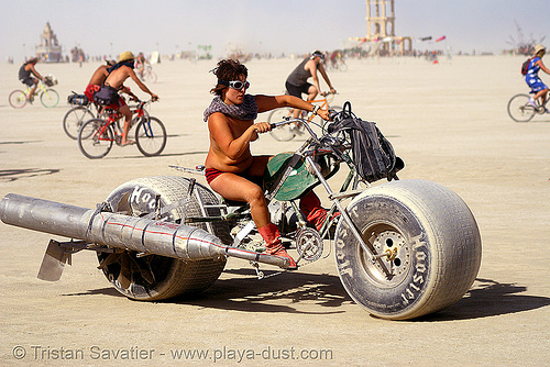 """pear county chopper"" in the critical tits - gina - burning man 2007, bicycle, bike, breasts, burning man, burning updated man festival, elliot naess, pear county chopper"