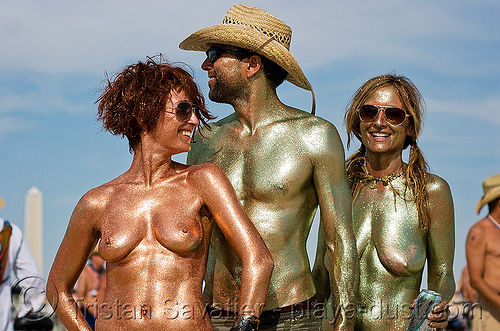 glittery - burning man 2008, body art, body paint, body painting, breasts, burning man, straw hat, topless woman