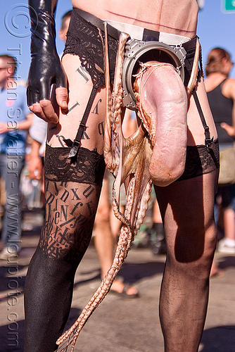 raw beef tongue and squid - costume, beef tongue, bondage, costume, failure, folsom street fair, garters, man, raw meat, sea food, squid, tentacles, the accretion