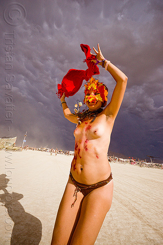 red scarf and stormy sky, body art, bodypaint, bodypainting, burning man, clouds, mark, masked, red scarf, stormy sky, topless, woman