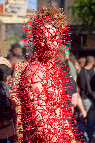 red zip-ties costume, costume, elastic ropes, ellastic strings, folsom street fair, man, red, spiky, zip-ties