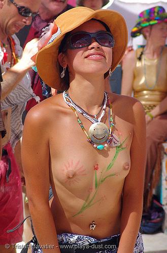 2304-burning-man-2005 - shinobu - body paint - breasts, asian woman, body art, body paint, body painting, breasts, burning man, center camp, dave lyle, shino, shinobu, topless woman