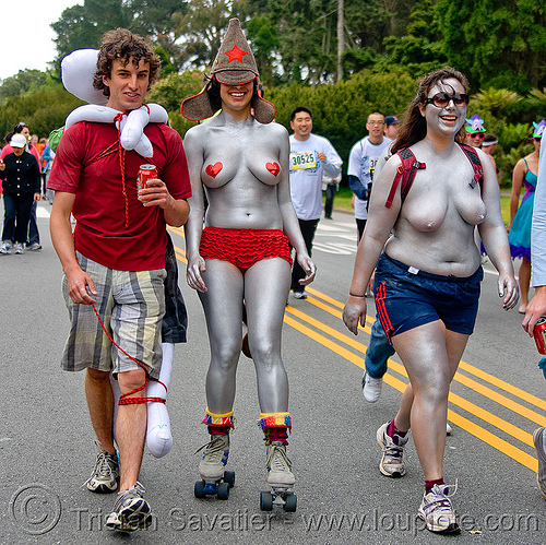 silver women, amn, bay to breakers, body art, body paint, body painting, festival, footrace, roller skates, rollers, runners, silver, street party, topless woman