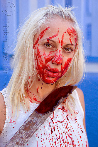 stage blood, blade, bleeding, blonde, bloody, fake blood, halloween, knife, lusha, machete, makeup, red, special effects, stage blood, theatrical blood, woman, zombie