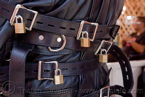 straightjacket with padlocks, bondage, buckles, dore alley fair, fetish, leather straps, master lock, padlocks, straightjacket, straitjacket