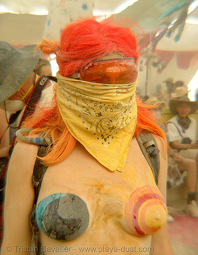 DSC19590 - burning man 2007 - surviving the dust storm in center camp, body art, body paint, body painting, breasts, burning man, center camp, dust storm, topless woman