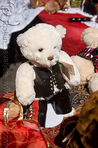 teddybear with leather costume - dore alley fair (san francisco), dore alley fair, leather jacket, plush, stuffed animal, teddy bear, toy