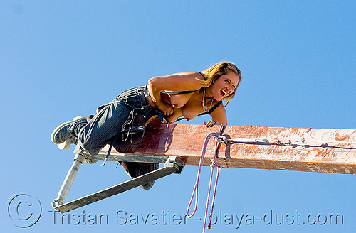 tina on giant teeter-totter - burning man 2008, breasts, burning man, seesaw, teeter totter of death, teeter-totter, tina, topless woman, trick nichols, ttod