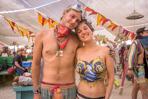 topless bodypainting - burning man 2015, bandana, body art, bodypaint, bodypainting, burning man, galaxy, goggles, justin stone, manon, stars, topless, woman