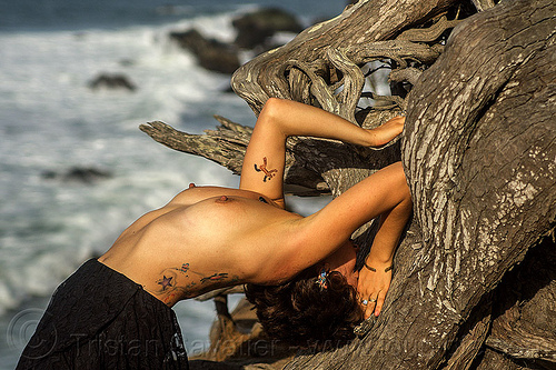 topless woman bending backward oven twisted juniper tree in yoga exercise, arched, bending backward, juniper, roots, seashore, tattoos, topless, tree, twisted, white water, woman, yoga