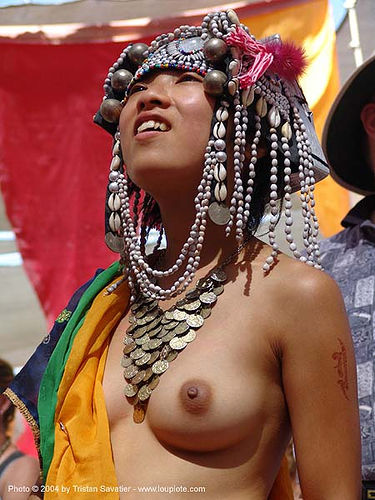 traditional AKHA tribe hat (head-dress) - burning-man 2004, akha, art, asian woman, breasts, burning man, headdress, headwear, hill tribes, indigenous, topless woman, tribe girl, tribe hat, ประเทศไทย