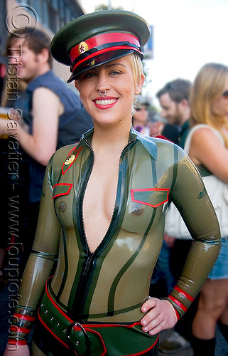 tranparent latex bodysuit costume - folsom street fair 2008 (san francisco), bondage, costume, fetish, folsom street fair, green, latex bodysuit, military cap, military hat, military officer, red army, russian, transparent latex, woman