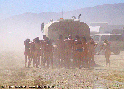 water truck shower - burning-man 2005, art, burning man, lorry, shower, showering, water truck