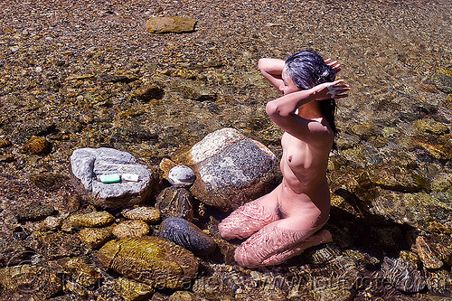 woman bathing in river, bath, bathing, big sur river, hiking, nude, pine ridge trail, rocks, soap bar, sykes hot springs, topless, trekking, vantana wilderness, woman