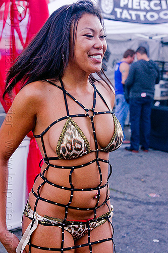 woman in sexy straps outfit - folsom street fair (san francisco), bondage fashion, folsom street fair, lingerie, straps, underwear, woman