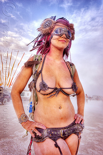 woman in steampunk outfit - burning man 2012, burning man, goggles, headdress, steampunk, woman