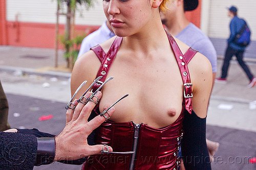 woman in topless corset - folsom street fair (san francisco), fingers, hand, metal fingernails, red corset, topless, woman
