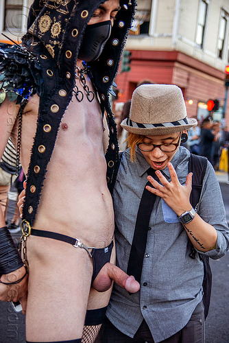 woman staring at erected penis - folsom street fair 2015 (san francisco), boner, erected, erection, hard-on, hat, looking, man, nude, staring, woman