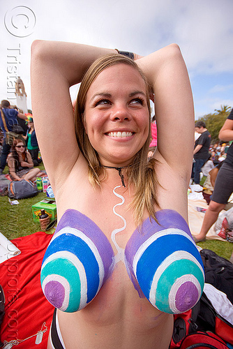 breast bodypainting, body art, body paint, body painting, breasts, dolores park, gay pride festival, topless woman