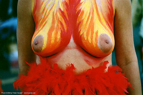 woman with fire-breasts body painting - burning man decompression (san francisco), body art, body paint, body painting, fiery, fire, topless, woman