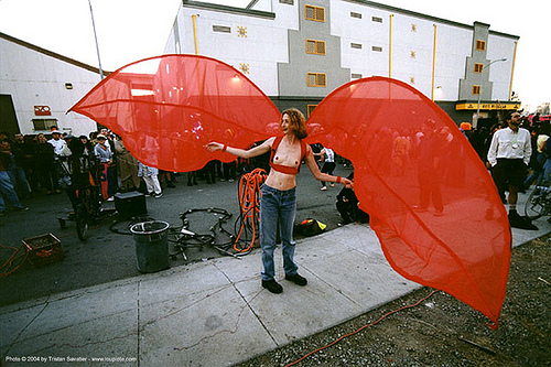 woman with giant red wings costume, costume, red wings, woman