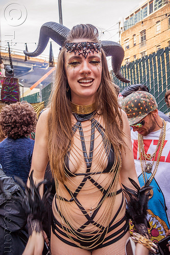 woman with satyr horns - how weird street faire (san francisco), chains, costume, satyr horns, woman
