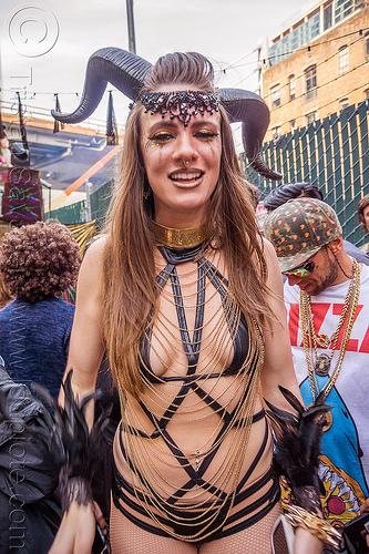 woman with satyr horns - how weird street faire (san francisco), chains, costume, how weird festival, satyr horns, woman