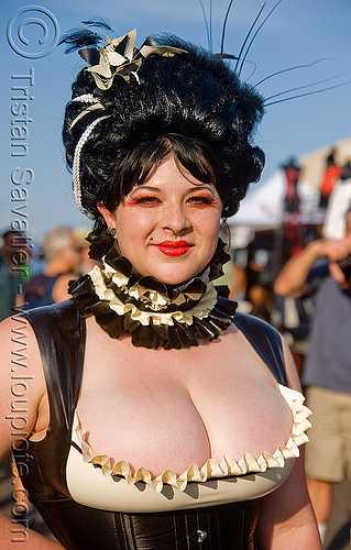 victorian cleavage, ava lanche, cleavage, folsom street fair, victorian fashion, woman
