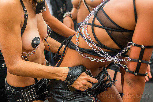 women in fashion leather fetish outfits, chains, dancing, fashion, folsom street fair, leather, pasties, topless woman, women