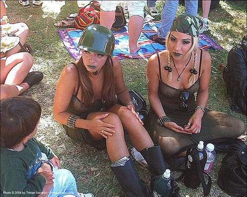 women in soldier costumes (san francisco), army helmet, gay pride festival, makeup, military, see-through, sheer outfit, soldiers, women