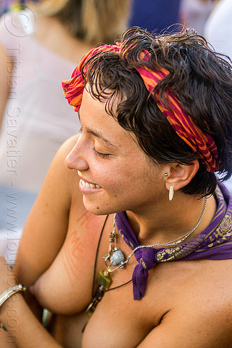 yassmine dancing at decompression 2014 (san francisco), bandana, burning man decompression, dancing, headband, hippie, necklaces, topless woman, yassmine