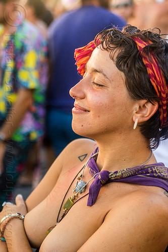 yassmine dancing at decompression 2014 (san francisco), bandana, dancing, headband, hippie, jewelry, necklaces, topless, woman, yassmine