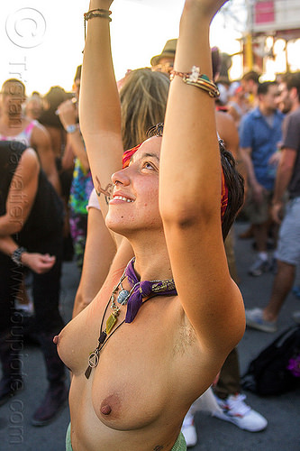 yassmine dancing at decompression 2014 (san francisco), bandana, bracelets, burning man decompression, dancing, headband, hippie, jewelry, necklaces, topless woman, yassmine