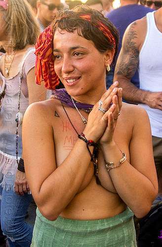 yassmine dancing at decompression 2014 (san francisco), bandana, bracelets, dancing, headband, hippie, jewelry, necklaces, rings, woman, yassmine