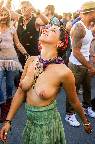 yassmine dancing at decompression 2014 (san francisco), bandana, bracelets, dancing, headband, hippie, jewelry, necklaces, topless, woman, yassmine