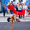 capoeira dancer -  folsom street fair (san francisco), brazilian, breasts, capoeira, folsom street fair, handstand, nara, topless woman