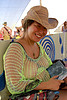 jeannie - burning man 2007, breasts, burning man, center camp, fishnet clothing, fishnet top, green, jeannie, straw hat, woman