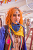 girl with orange hair - burning man 2015, bandana, burning man, camelback, center camp, orange hair, third eye, woman