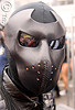 man in leather mask - dore alley fair (san francisco), black, bondage mask, dore alley fair, fetish mask, leather mask, reflection