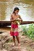 girl near river (laos), child, kid, kong lor, little girl, river bath, river bathing
