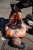 rope bondage - tony buff tying-up derek da silva - dore alley fair (san francisco), back piece, boot, derek da silva, dore alley fair, fetish, knots, leather, men, red rope, rope bondage, shoe, tattooed, tattoos, tony buff